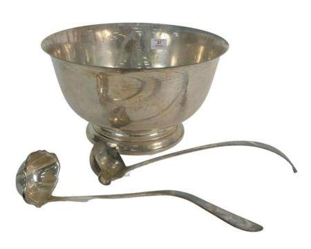 Three Piece Group of Sterling Silver to include a large Gorham Revere style sterling bowl, height 7 5/8 inches, diameter 14 inches; ...