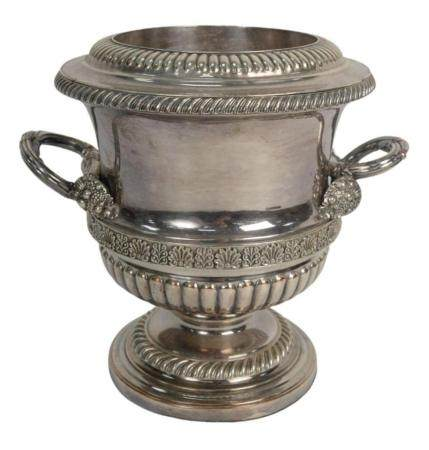 Sheffield Silver Plated Wine Cooler with two handles, height 9 1/2 inches. Provenance: From a Newport, Rhode Island historic home, i...