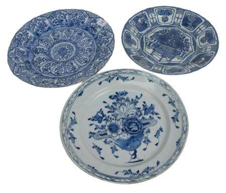 Three Chinese Blue and White Chargers, Kangxi 17th/18th century, one for Islamic market signed with artemisia leaf, one crackleware ...