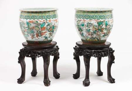 A pair of fish bowls