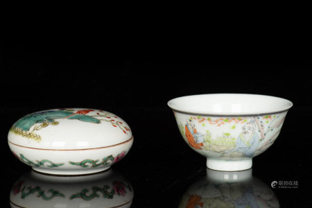 TWO FAMILLE ROSE PORCELAINS