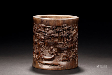 HARDWOOD RELIEF CARVED 'BAMBOO GROVE' BRUSH POT