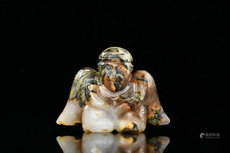 WHITE JADE CARVED 'MYTHICAL BIRD MAN' FIGURE