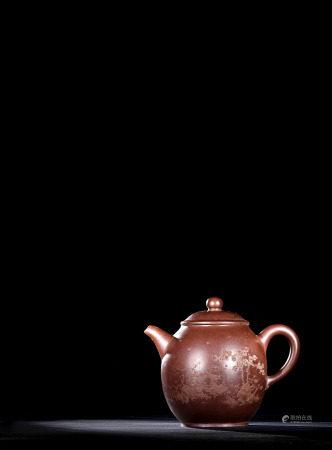 現代 夏俊偉 紫砂泥繪宮燈壺