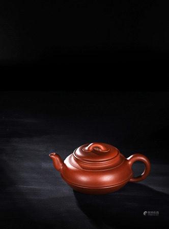 現代 曹婉芬 紫砂紅線圓壺