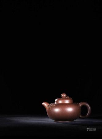 現代 季益順 紫砂聖桃壺