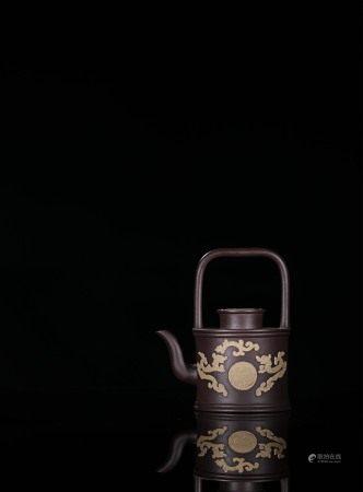 清初 紫砂貼花提樑壺