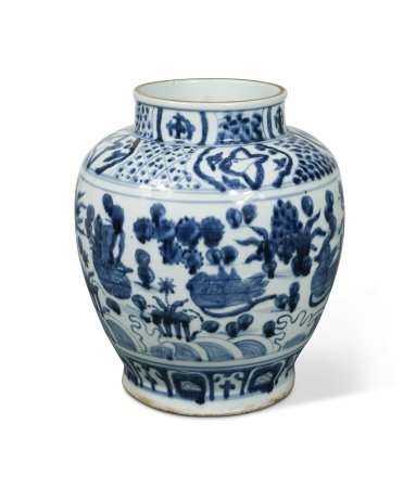 A Chinese blue and white porcelain vase, in late Ming style,