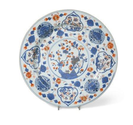 A Chinese Imari porcelain dish, Kangxi Emperor (1662-1722),