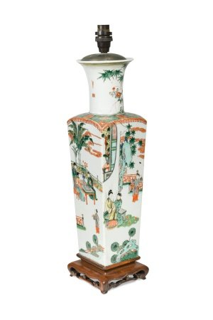 A Chinese famille vert porcelain square section vase, 20th century,