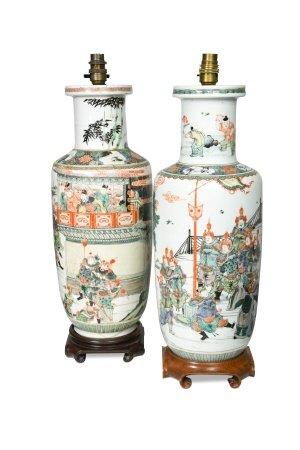Two similar Chinese porcelain famille verte vases,