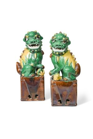 A pair of Chinese porcelain Fo dogs, probably Emperor Kangxi (1662-1722),