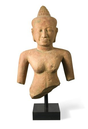 A Khmer sandstone bust of Buddha,