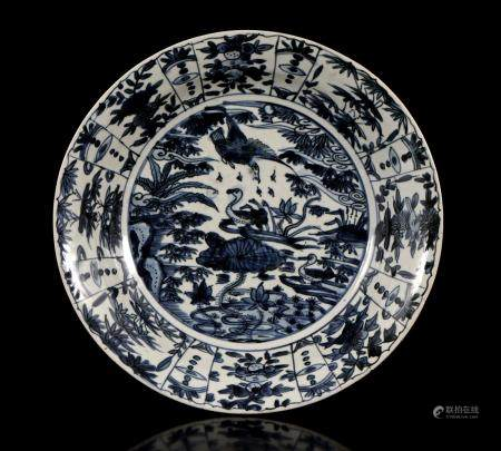 Chinese Wanli porcelain dish with birds in floral landscape decor, 37 cm in diameter (hairlines)