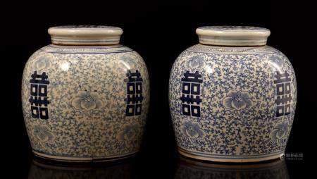 2 Chinese porcelain ginger jars, 20th century, 22 cm high, 22.5 cm diameter