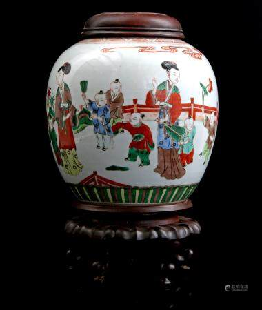 Chinese porcelain ginger jar with polychrome decoration of long Lijzen and fools, 20th century 21.5