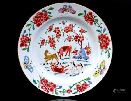 Famile Rose porcelain dish with a decor of horses in a landscape, China ca.1725, 23 cm diameter (int