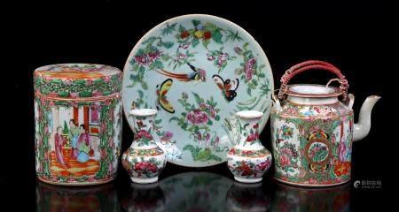 Cantonese porcelain pot with lid 12 cm high, 10 cm diameter, Cantonese teapot 10 cm high (hairline