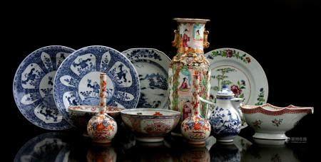 Buy Chinese porcelain b.u. 2 Imari pipe vases, Famille Rose sauce bowl, 2 Amsterdams Bont dishes, 3