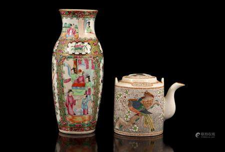 Japanese porcelain teapot with birds and floral decoration 11 cm high, 16 cm wide and 10 cm deep (h