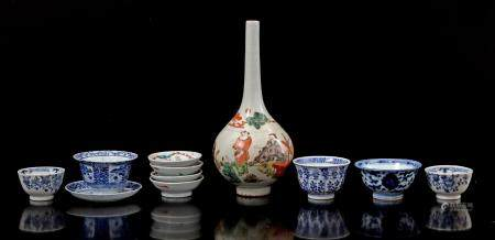 Lot Chinese porcelain b.u. pipe vase 25 cm high, 5 cups and 6 saucers in different decor (damage)