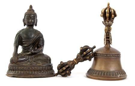 Bronze Buddha 14 cm high and a bell with Vajra, Tibet, ca.1900