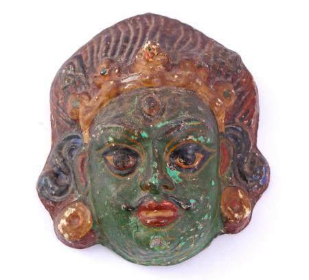 Paper mache mask, Tibet, ca.1900, 15.5x13 cm