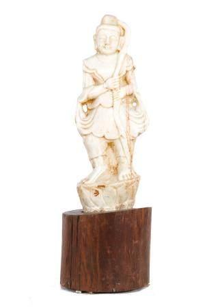 Very nice natural stone statue on wooden base, 19th century, Vasundhara, Burmese, approx. 126 cm hig