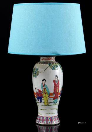 Chinese porcelain table lamp base with blue upholstered shade 46 cm high