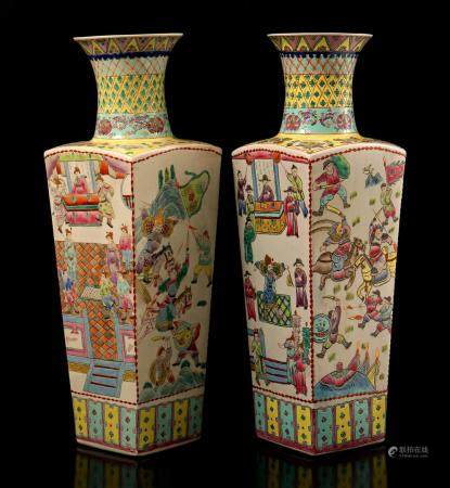 2 Chinese porcelain vases with polychrome decoration of many figures, 20th century 58 cm high