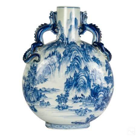 """Chinese 19"""" Porcelain Landscape Moon Flask Vase"""