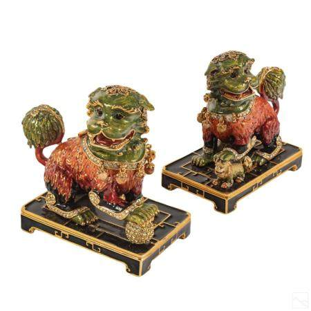 Jay Strongwater Chinese Guardian Lion Foo Dog Pair