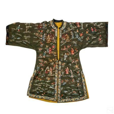 Chinese Green Silk Embroidered Kimono Hanfu Jacket