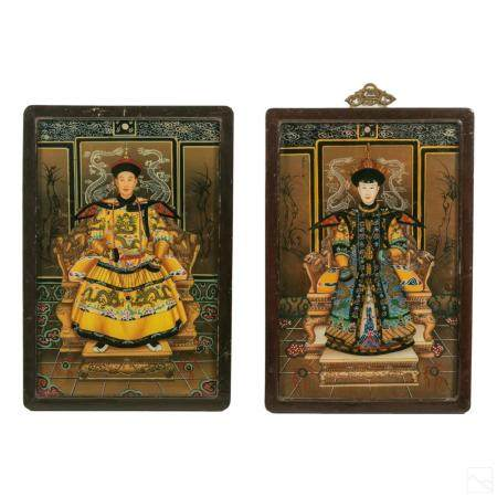 Chinese Emperor & Empress Reverse Glass Paintings