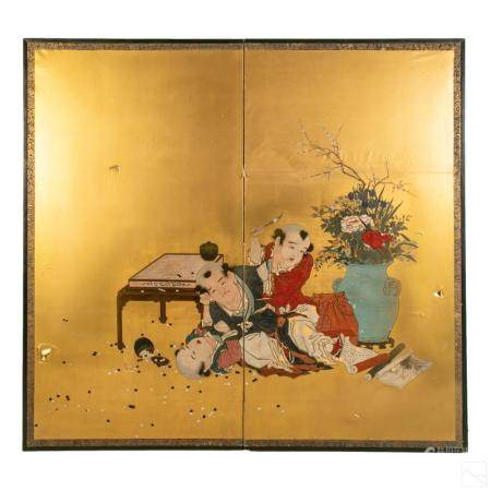 Chinese Scholars Antique Panel Screen Room Divider