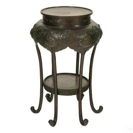 Chinese Antique Bronze Pedestal Plant Stand Plinth