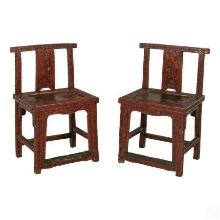 Chinese Antique Cinnabar Lacquer Landscape Chairs