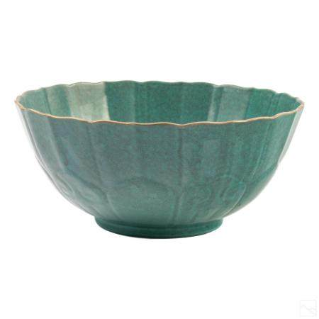 Chinese Robins Egg Blue Glaze Porcelain Lotus Bowl