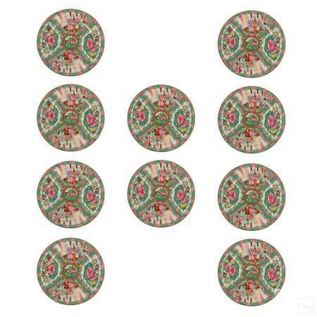 Chinese Porcelain Glazed Japanese Shape Plates Set