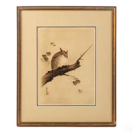 Japanese Antique Silkscreen Owl Wildlife Painting