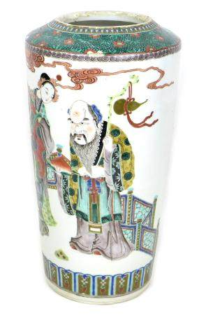 A Chinese porcelain famille verte vase, Qing Dynasty, 19th century, of tapering cylindrical form,