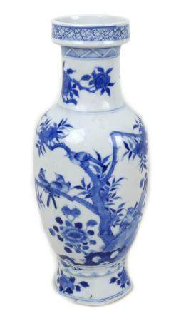 A Chinese porcelain vase, Qing Dynasty, 19th century, of baluster form with stepped rim, decorated