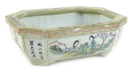 A Chinese Republic period porcelain small planter, of rectangular outline with incuse corners,