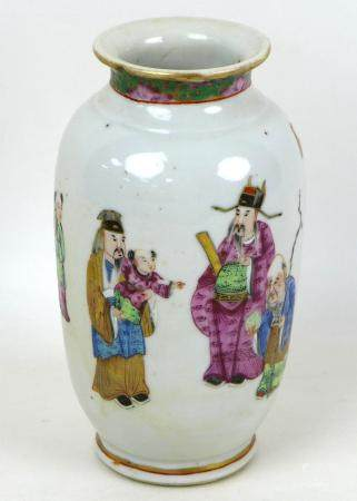 A Chinese porcelain famille rose vase, Qing Dynasty, 19th century, of ovoid form with narrowed