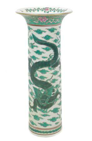 A modern Chinese porcelain famille verte sleeve vase, with flared rim, decorated with two front