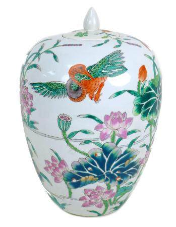 A modern Chinese famille verte vase and cover, of ovoid shouldered form, the cover with pointed