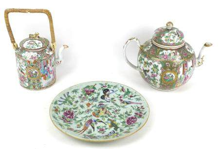 Three pieces 19th century and later Chinese Canton porcelain, comprising a spherical form teapot,