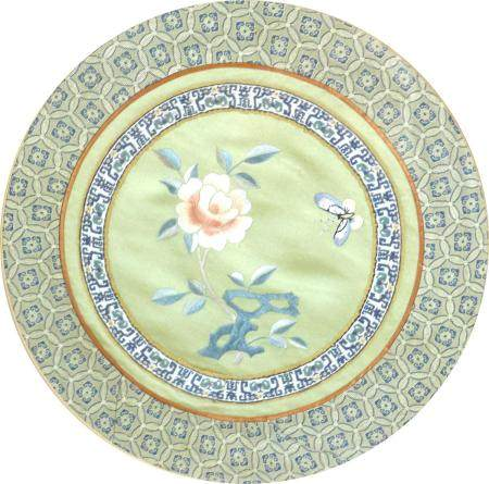 Two framed Chinese embroideries, comprising a rectangular panel depicting birds and butterflies,