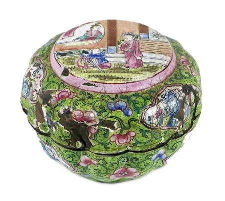 A Chinese enamel box and cover, 19th century, possibly Peking, of lobed form, decorated in famille