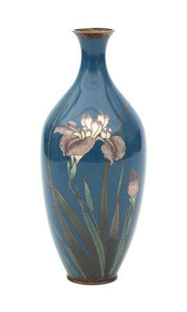 A blue Japanese cloisonné vase decorated with irises. Early 20th century.